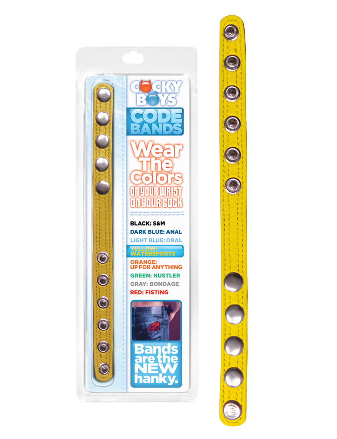 CockyBoys Leather Code Band - Yellow - Watersports