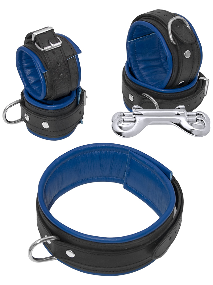 Echtleder Fessel-Set 5-teilig Schwarz-Blau