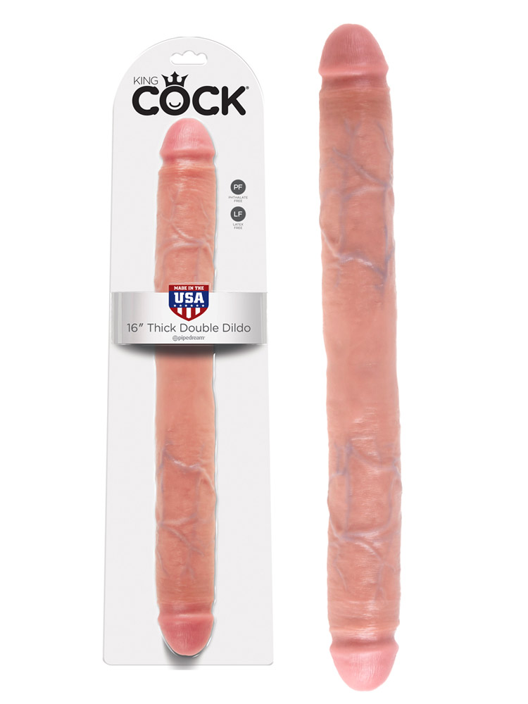 King Cock - 16 inch Thick Double Dildo Flesh