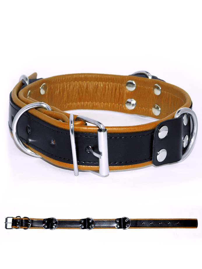 Deluxe Bondage Collar - Black/Yellow